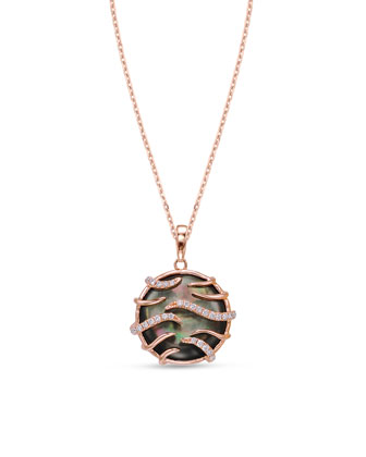 Luna Mini Black Mother-of-Pearl Pendant Necklace