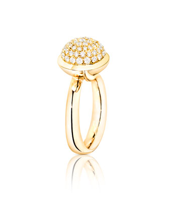 Bouton 18K Yellow Gold Pavé Diamond Dome Ring, Size 7/54
