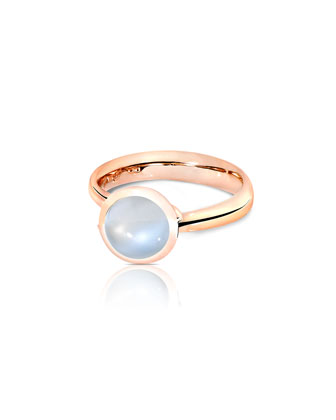 Bouton 8mm Rainbow Moonstone Cabochon Ring, Size 7/54