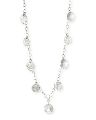 18K White Gold Diamond Coin Necklace