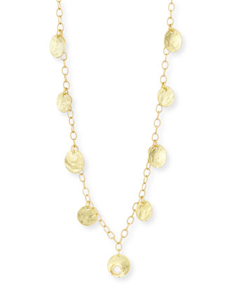 18K Yellow Gold Diamond Coin Necklace