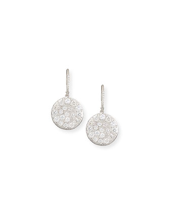 18k White Gold Diamond Disc Earrings
