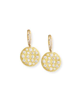 18k Yellow Gold Diamond Disc Earrings