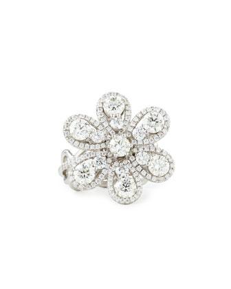 18K White Gold Diamond Melee Flower Ring