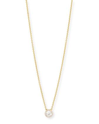 18K Yellow Gold Round Diamond Halo Necklace