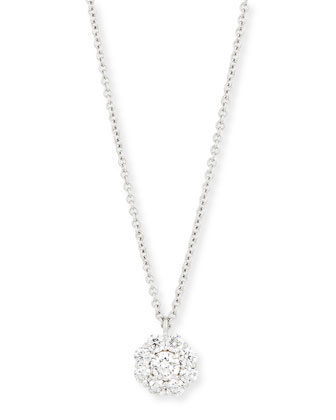 18K White Gold Diamond Flower Pendant Necklace