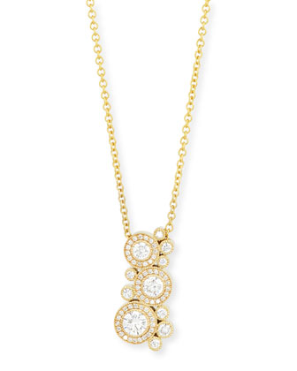18K Yellow Gold Diamond Bubble Necklace