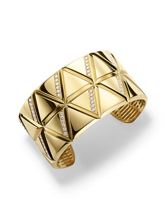 18K Yellow Gold Small Triangoli Diamond Cuff Bracelet