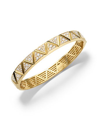 18K Yellow Gold Triangoli Diamond Bangle Bracelet
