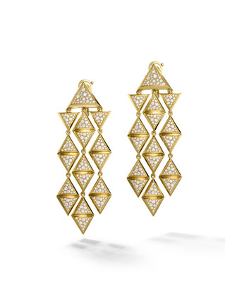 18K Yellow Gold Triangoli Diamond Chandelier Earrings