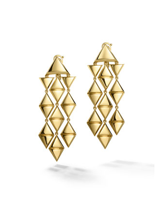 18K Yellow Gold Triangoli Chandelier Earrings