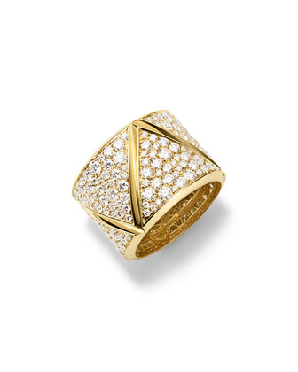 18K Yellow Gold Triangoli Full Diamond Ring