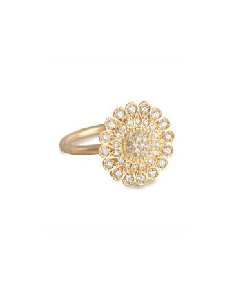Diamond Sunflower Ring, Size 7
