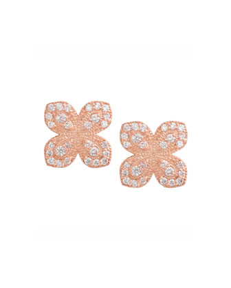 18K Rose Gold Scallop Diamond Flower Earrings