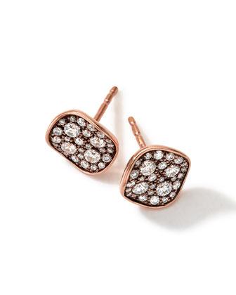 Glamazon 18K Rose Gold Diamond Disc Earrings
