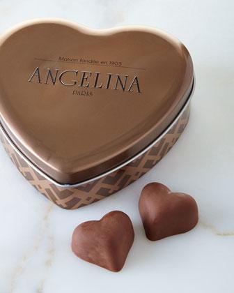 Chocolate Pralines in Heart Tin