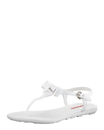 Patent Leather Bow Thong Sandal, Bianco