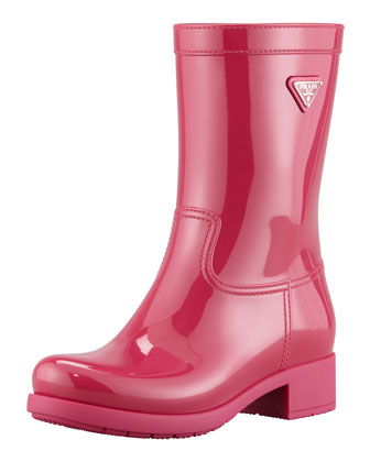 Glossy Pull-On Rain Boot, Fuchsia