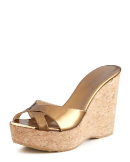 Jimmy Choo Perfume Cork and Metallic Leather Wedge Slide