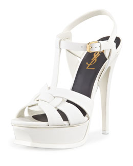 Saint Laurent New Tribute Platform Sandal, White