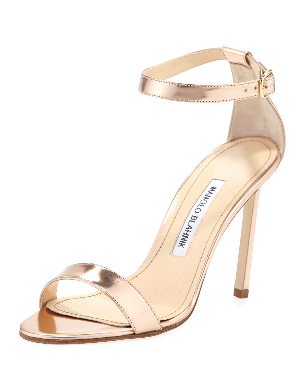 Chaos Metallic Sandal, Rose Gold   Manolo Blahnik   Rose gold (6 1/2 B)