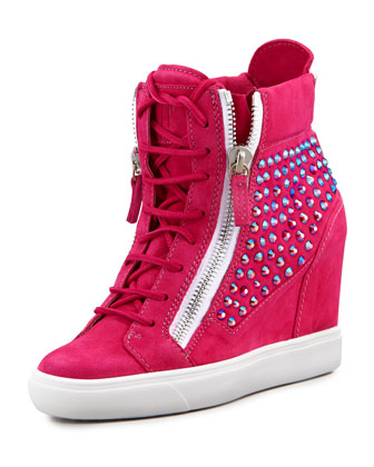High-Top Crystal-Panel Wedge Sneaker, Fuchsia