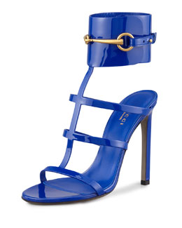 Gucci Patent Leather Gladiator Sandal, Cobalt