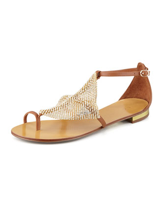 Crystal Mesh Toe-Ring Sandal, Cuero