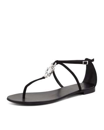 Suede Crystal Thong Sandal, Black