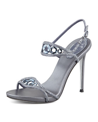 High-Heel Crystal Sandal, Denim Blue