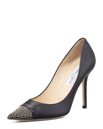 Amika Stud-Toe Leather Pump, Black