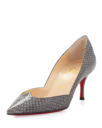 Malachic Pointed Snakeskin Red Sole Pump, Gray