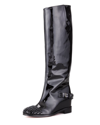 Egoutina Spiked Patent Red-Sole Boot, Black