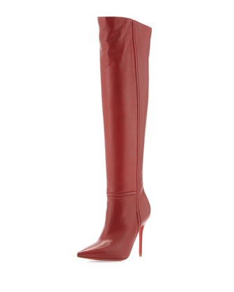 Armurabotta Thigh-High Pointy Red Sole Boot, Red