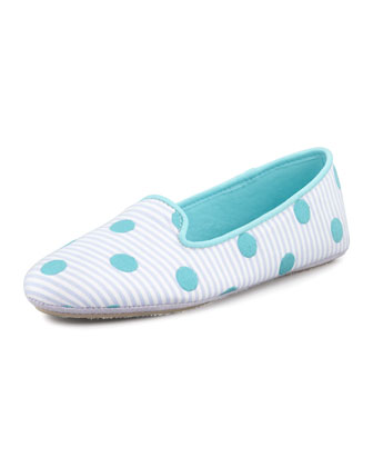 Dot Embroidered Smoking Slipper, Lavender/Blue