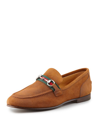 Flat Suede Loafer, Light Brown