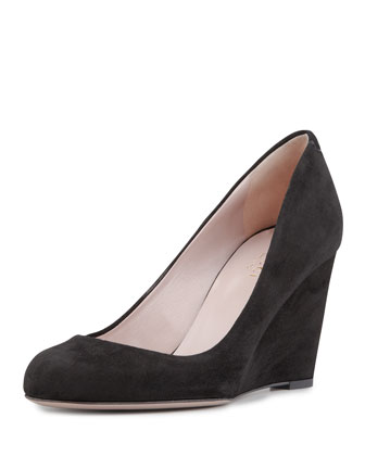 Suede Wedge Pump, Black