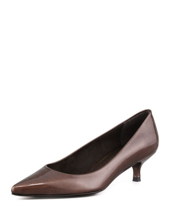 Poco Patent Leather Kitten-Heel Pump, Dark Taupe