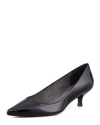 Poco Patent Leather Kitten-Heel Pump, Black