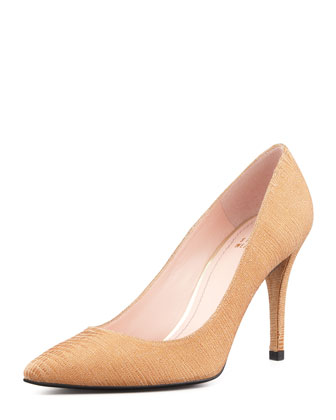 Daisy Lizette Pointy-Toe Pump, Tan