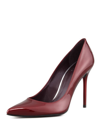 Nouveau Patent Leather Pump, Dark Red