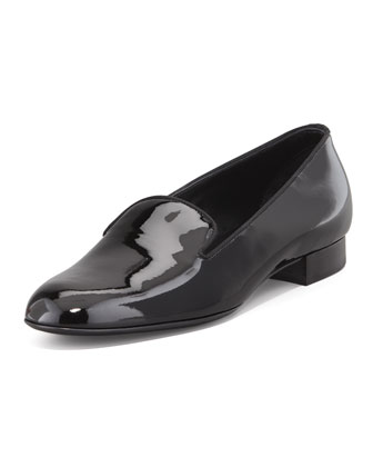 Patent Leather Smoking Slipper, Black
