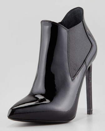 Patent Point-Toe Stretch Bootie