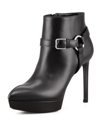 Leather Platform Harness Bootie