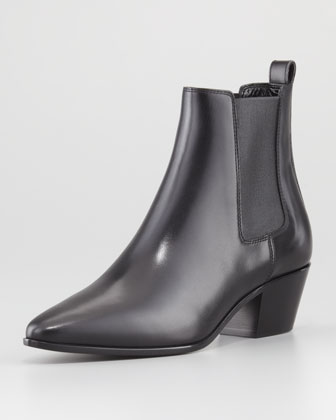 Calfskin Leather Ankle Boot, Black