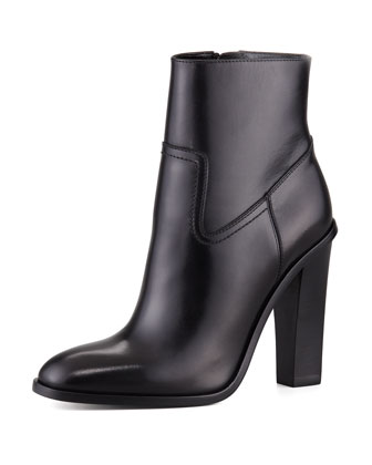 Side-Zip Leather Bootie, Black