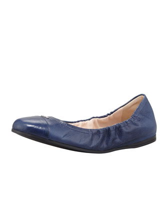 Cap-Toe Ballerina Scrunch Flat, Denim Blue