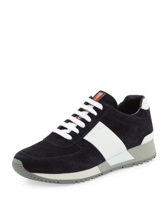 Two-Tone Chunky-Sole Suede Sneaker, Navy/White