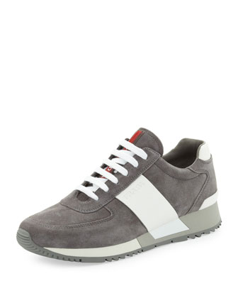 Two-Tone Chunky-Sole Suede Sneaker, Gray/White