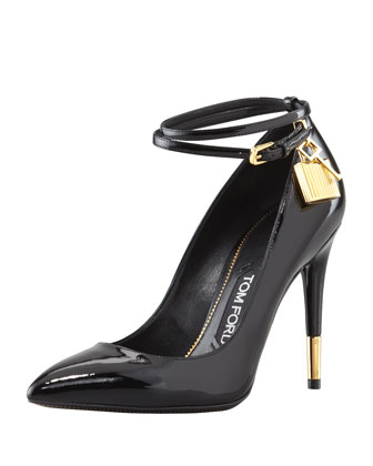 Padlock Ankle-Strap Pump, Black